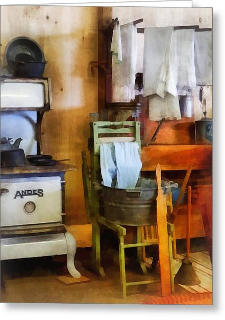 Laundry Greeting Cards - Laundry Drying in Kitchen Greeting Card by Susan Savad