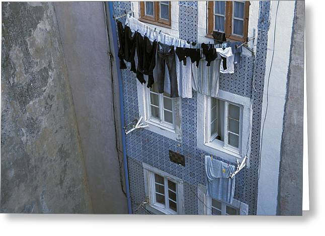 Urban And Suburban Ways Of Life Greeting Cards - Laundry Hanging Outside Windows Greeting Card by Scott S. Warren