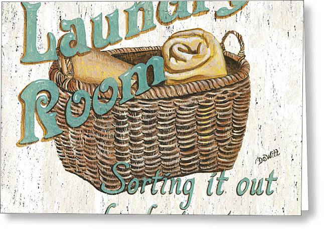 Houses Greeting Cards - Laundry Room Sorting it Out Greeting Card by Debbie DeWitt