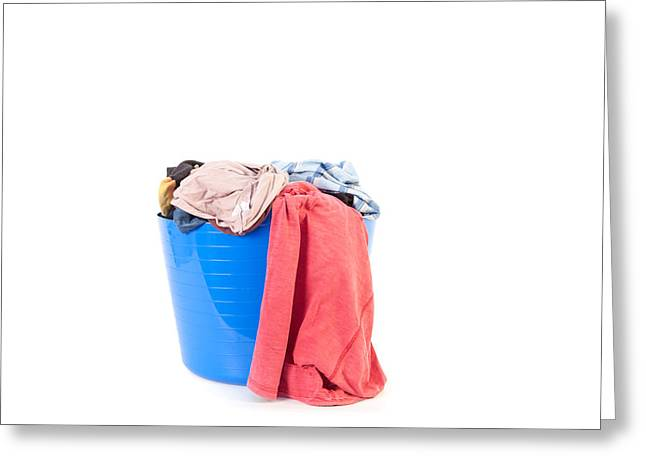 Routine Greeting Cards - Laundry Greeting Card by Tom Gowanlock