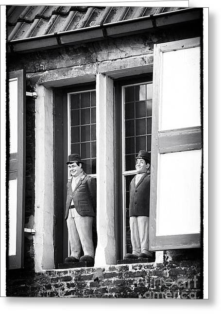 Laurel And Hardy Greeting Cards - Laurel and Hardy in Bruges Greeting Card by John Rizzuto