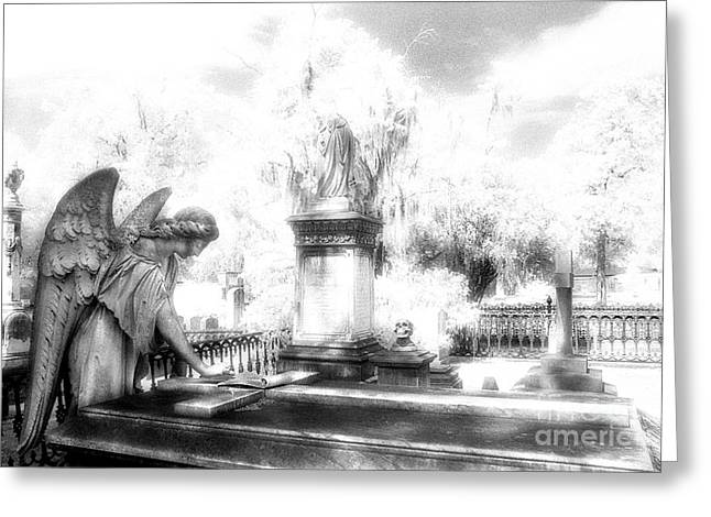 Savannah Infrared Photography Greeting Cards - Laurel Grove Angel and Coffin Greeting Card by Jeff Holbrook