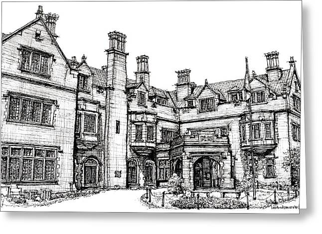 Indiana Images Drawings Greeting Cards - Laurel Hall in Indianapolis Greeting Card by Lee-Ann Adendorff