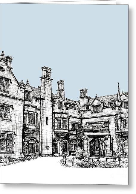 Monochrome Drawings Greeting Cards - Laurel Hall in light blue Greeting Card by Building  Art