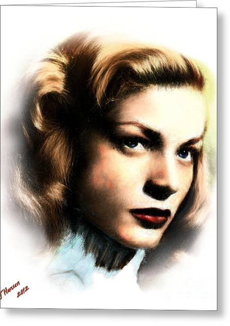 Bacall Greeting Cards - Lauren Bacall Greeting Card by Arne Hansen