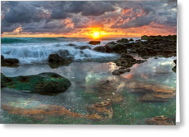 Rocks. Tidal Pool Greeting Cards - Lava Flow Greeting Card by Debra and Dave Vanderlaan