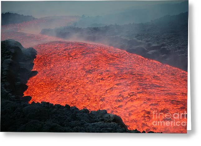Land Feature Greeting Cards - Lava Flow During Eruption Of Mount Etna Greeting Card by Richard Roscoe