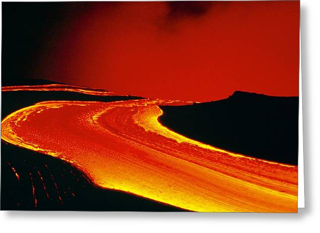 Lava Flow Greeting Cards - Lava Flow From Kilauea Crater, Hawaii Greeting Card by Us Geological Survey