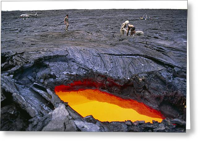 Lava Flow Greeting Cards - Lava Flow Research, Hawaii Greeting Card by G. Brad Lewis