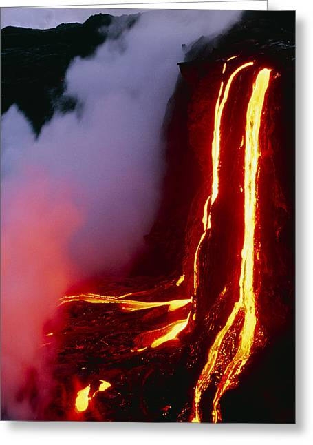 Hawai Greeting Cards - Lava Flowing Down Cliff Into The Ocean Greeting Card by G. Brad Lewis