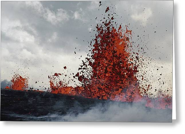 Overcast Day Greeting Cards - Lava From A Kilauea Eruption Sprays Greeting Card by William Allen