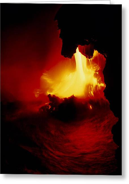 Pouring Greeting Cards - Lava Pouring Into The Sea From Kilauea Volcano Greeting Card by G. Brad Lewis