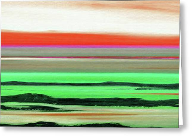 Sunset Posters Greeting Cards - Lava Rock Abstract Panoramic Sunset in Red and Green Greeting Card by Gina De Gorna