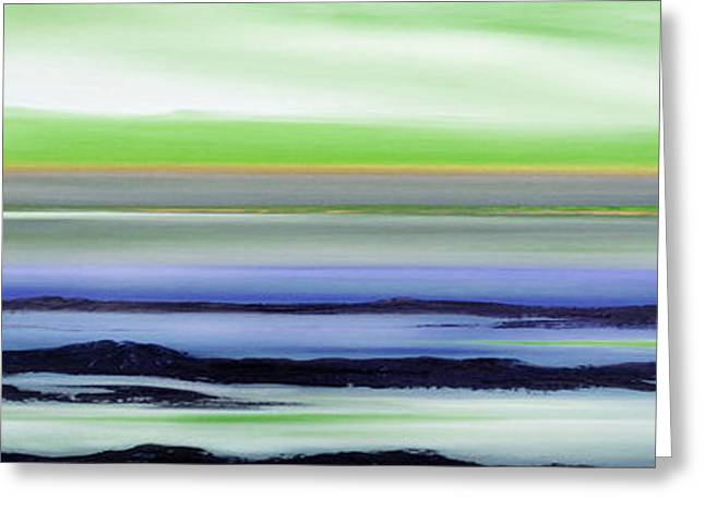 Sunset Posters Greeting Cards - Lava Rock Panoramic Sunset in Green and Blue Greeting Card by Gina De Gorna