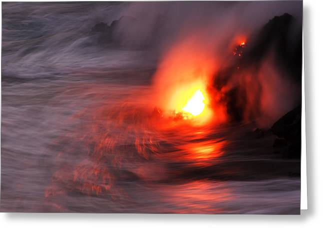 Volcanoes And Volcanic Action Greeting Cards - Lava Streams Flowing Off The Tip Greeting Card by Steve And Donna O