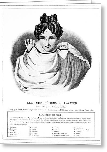 Satire Prints Greeting Cards - Lavaters Physiognomy, 19th Century Greeting Card by