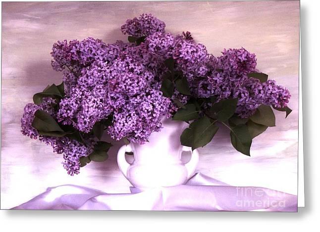 Lavendar Lilacs Greeting Card by Marsha Heiken