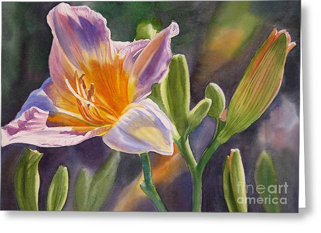 Violet Art Greeting Cards - Lavender and Gold Lily Greeting Card by Sharon Freeman