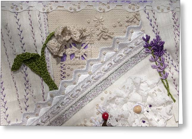 Romantic Tapestries - Textiles Greeting Cards - Lavender and Lace Greeting Card by Masha Novoselova
