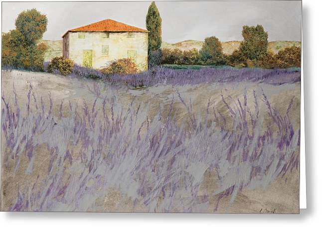 Field Greeting Cards - Lavender Greeting Card by Guido Borelli