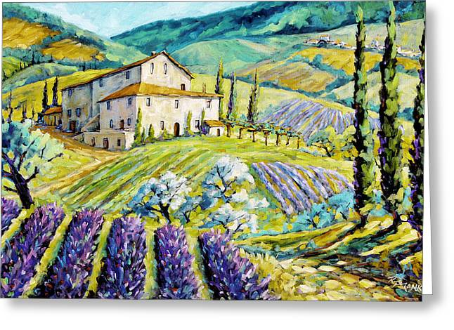 Canadian Greeting Cards - Lavender Hills Tuscany by Prankearts Fine Arts Greeting Card by Richard T Pranke
