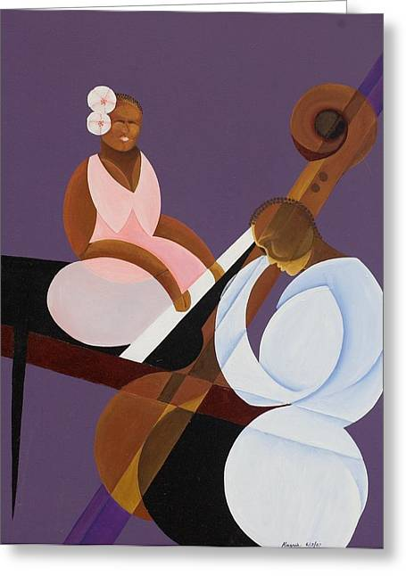 Acrylic On Canvas Greeting Cards - Lavender Jazz Greeting Card by Kaaria Mucherera