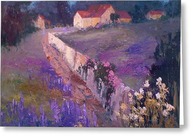 Lavender Lane Greeting Card by Mary Scott