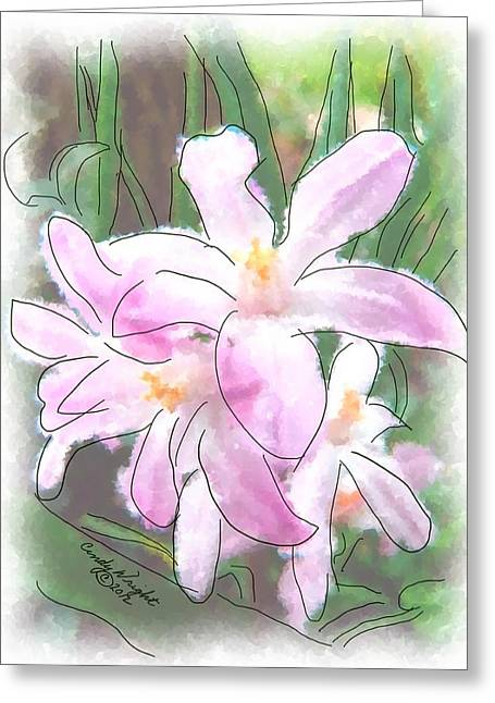 Pen And Ink Drawing Photographs Greeting Cards - Lavender Lily Painting Greeting Card by Cindy Wright