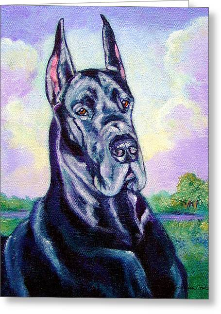 Great Dane Portrait Greeting Cards - Lavender Skies - Great Dane Greeting Card by Lyn Cook