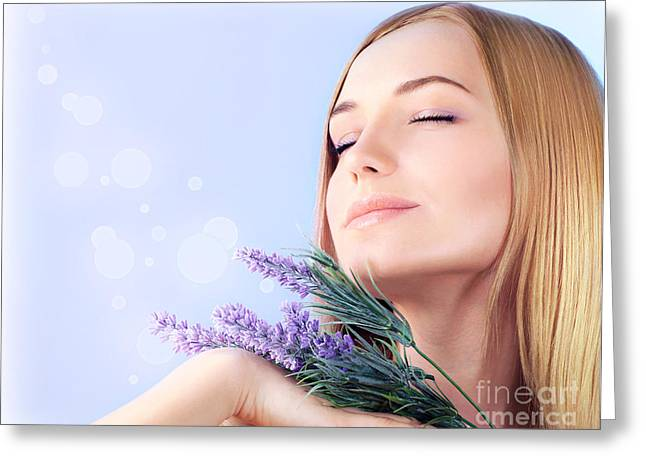 Lavender spa aromatherapy  Greeting Card by Anna Omelchenko