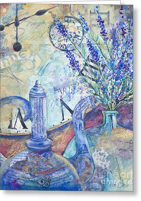 Oriental Teapot Greeting Cards - Lavender Tea Greeting Card by Kate Bedell