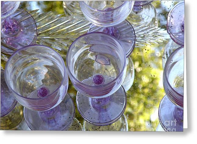 Lainie Wrightson Greeting Cards - Lavender Wine Glasses Greeting Card by Lainie Wrightson