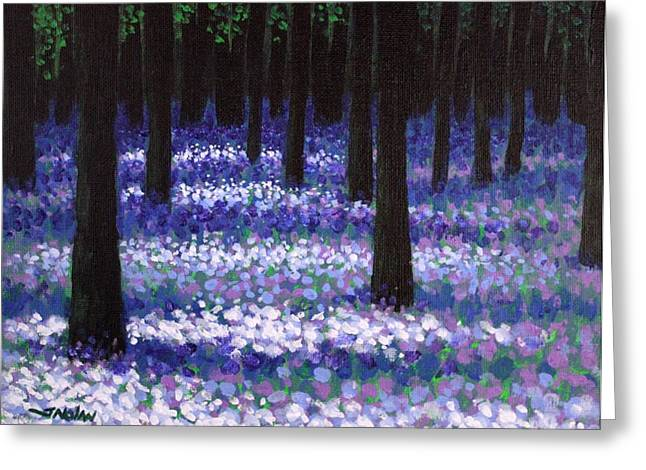 Landscape Posters Greeting Cards - Lavender Woodland Greeting Card by John  Nolan