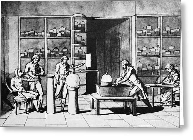 Respiration Greeting Cards - Lavoisier Respiration Experiment, 1770s Greeting Card by