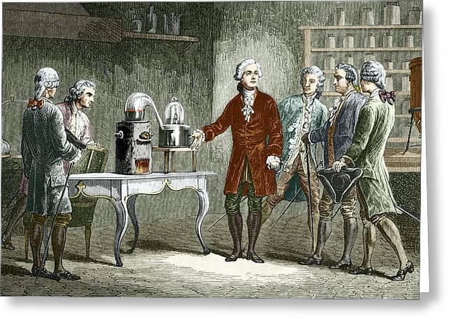 Lavoisier's Experiment On Air, 1776 Greeting Card by Sheila Terry