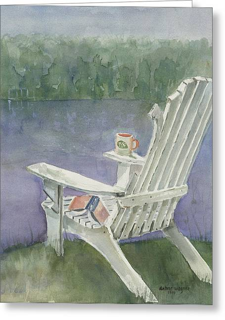 Lawn Chair Greeting Cards - Lawn Chair By The Lake Greeting Card by Arline Wagner