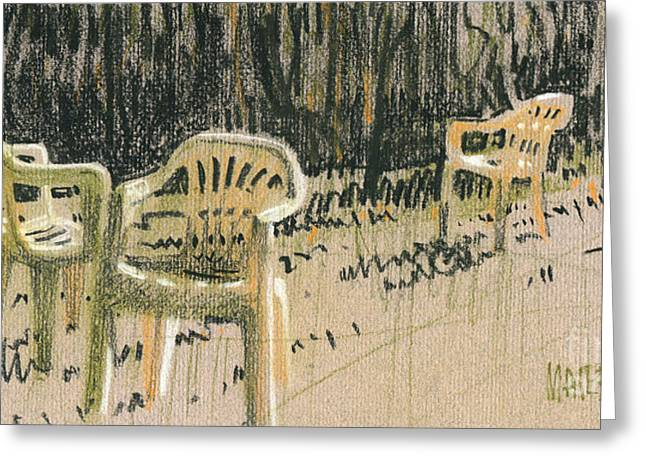Lawn Chair Pastels Greeting Cards - Lawn Chairs Greeting Card by Donald Maier
