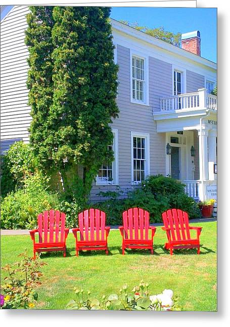 Lawn Chairs Greeting Card by Randall Weidner