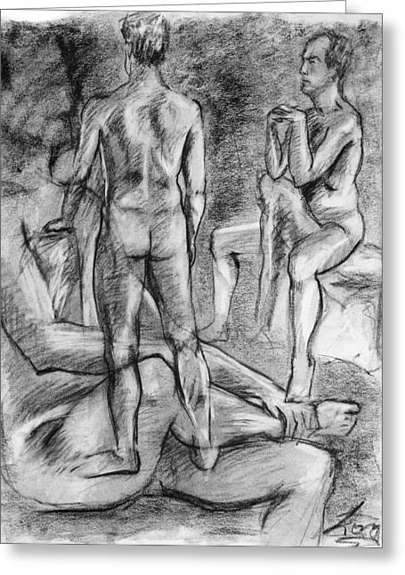 Grayscale Drawings Greeting Cards - Layered Man figure study Greeting Card by Adam Long
