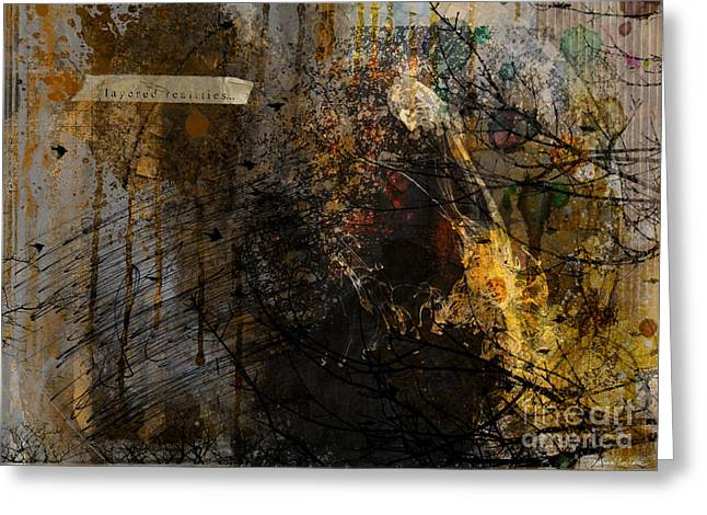 Sepia Mixed Media Greeting Cards - Layered realities abstract composition painting print Greeting Card by Svetlana Novikova