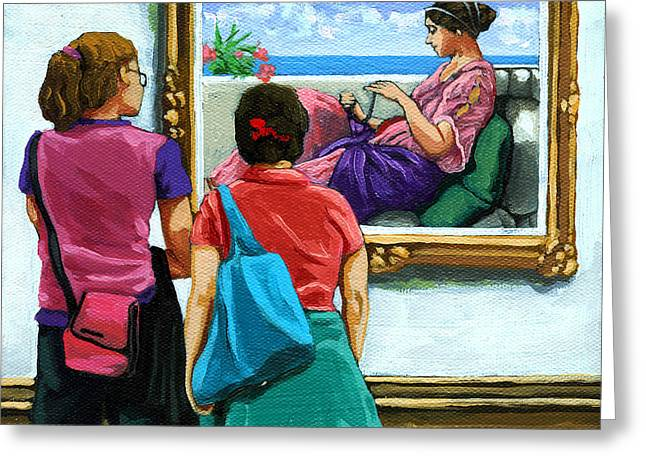 Layers - Figurative Oil Painitng Greeting Card by Linda Apple
