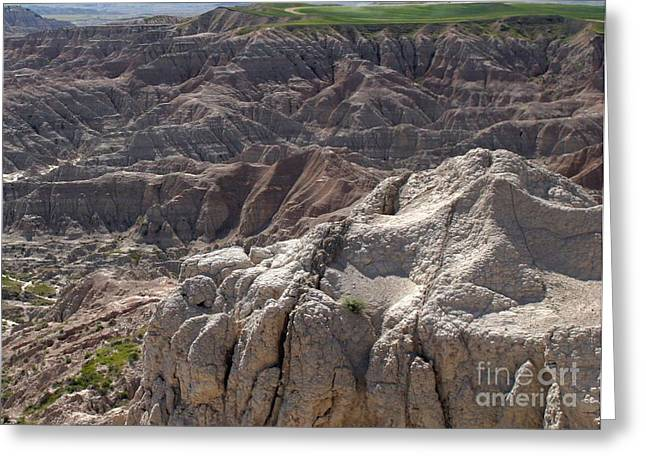 Ladnscape Greeting Cards - Layers Of Rock In The Badlands Greeting Card by Living Color Photography Lorraine Lynch