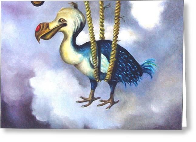 Dodo Bird Greeting Cards - Lazy Bird detail Greeting Card by Leah Saulnier The Painting Maniac