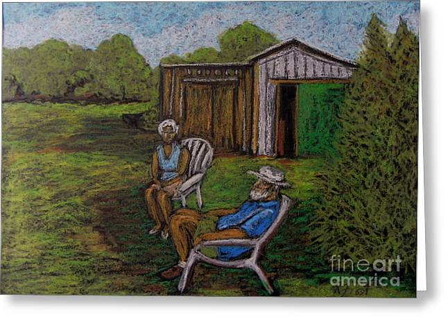 Couple Pastels Greeting Cards - Lazy Day on the Farm Greeting Card by Reb Frost