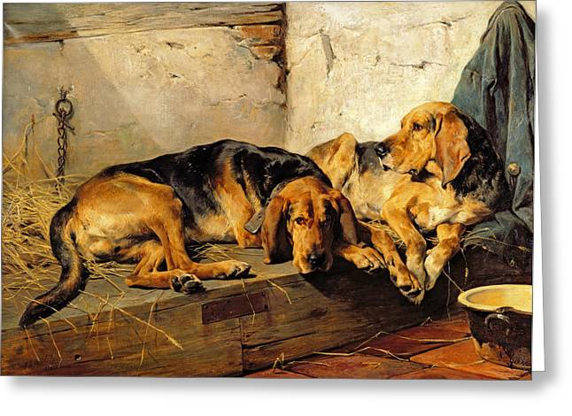 Hound Hounds Greeting Cards - Lazy Moments Greeting Card by John Sargent Noble