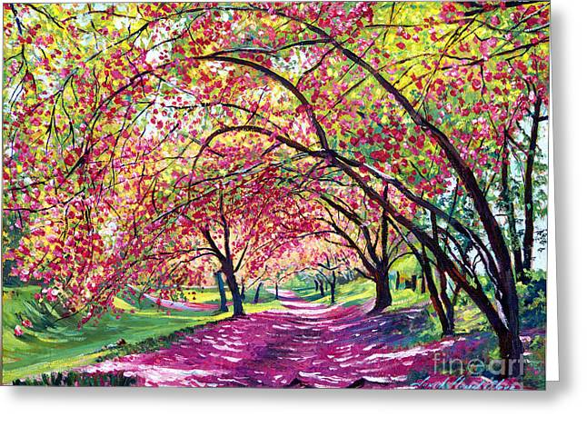 Tree Blossoms Paintings Greeting Cards - Lazy on a Sunday Central Park Greeting Card by David Lloyd Glover