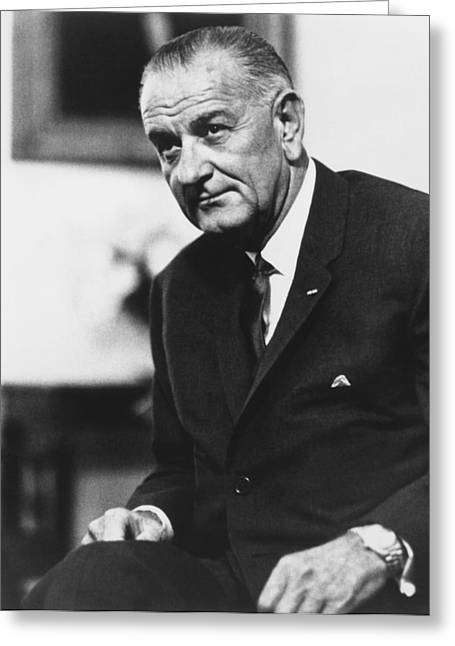 Democrat Photographs Greeting Cards - Lbj  Greeting Card by War Is Hell Store