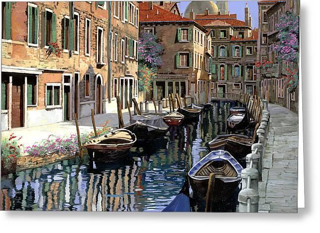 le barche sul canale Greeting Card by Guido Borelli