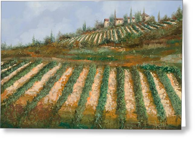 Vineyards Paintings Greeting Cards - Le Case Nella Vigna Greeting Card by Guido Borelli