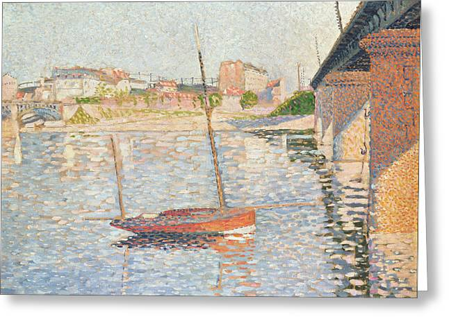 Docked Sailboat Greeting Cards - Le Clipper - Asnieres Greeting Card by Paul Signac
